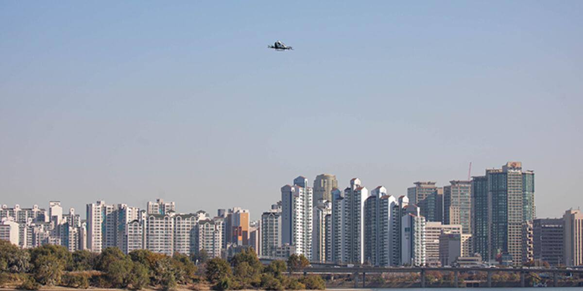 韓国ソウルら3箇所にて、空飛ぶクルマ「EHang 216」が初フライト完了