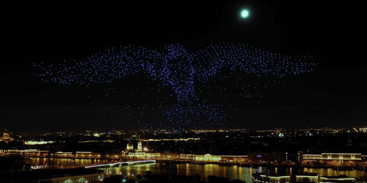 【ドローンライトショー】2,198機がサンクトペテルブルクの空を彩る