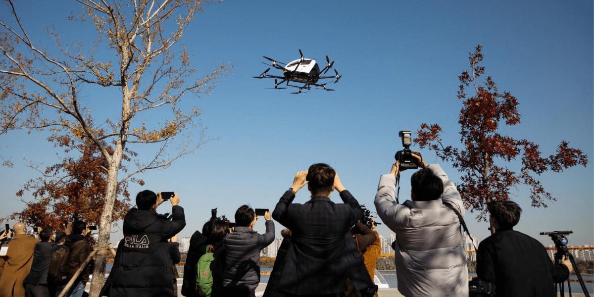 韓国ソウルにて、EHangのドローン「EHang216」が米の空輸に成功