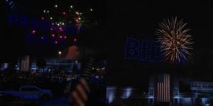 Biden(バイデン)大統領の誕生を祝い、ドローンと花火が夜空を彩る