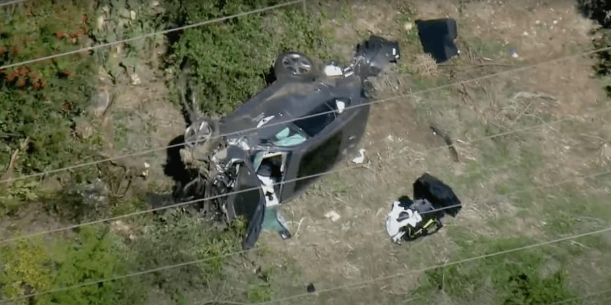 タイガー・ウッズ選手が起こした交通事故、事故車両のドローン映像が公開