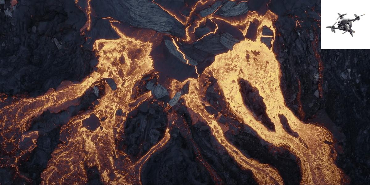 2台のドローンが犠牲に!「DJI FPVドローン」で撮影されたアイスランド火山