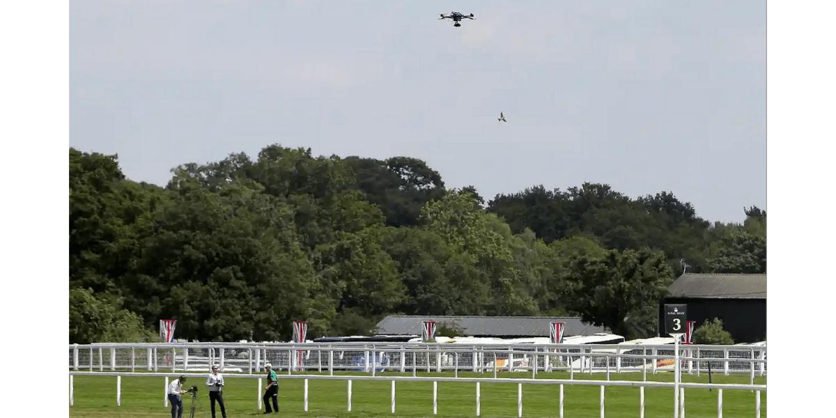 イギリスのエイントリー競馬場を飛行するドローンパイロットらが逮捕