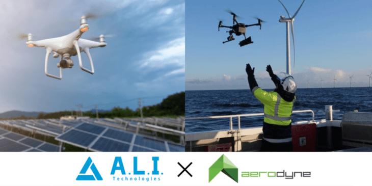 A.L.I.とエアロダイン、太陽光・風力発電でドローン点検ソリューション開始