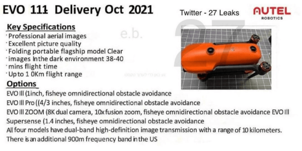 Autel Roboticsの新ドローン「Autel EVO Ⅲ」に関するリーク情報まとめ
